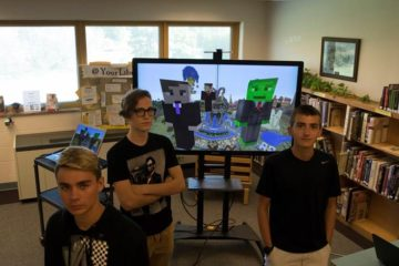 image of students who built minecraft server