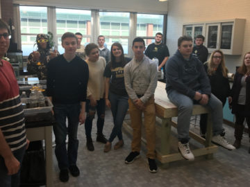 Environmental science class transforms storage space into green classroom