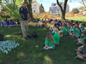 Colonial's kindergartners plant trees for Arbor Day