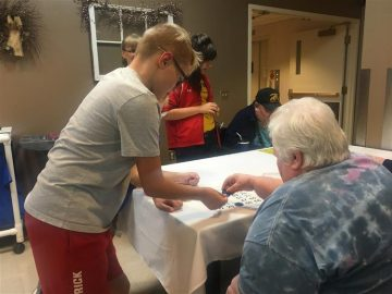 BAMS students visit residents of Centre Crest