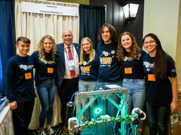 Award-winning student-led robotics team showcases their robot